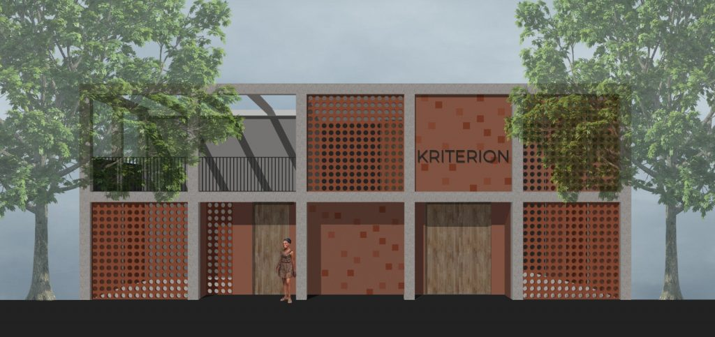 EWB-NL concept design for Kriterion Monrovia front facade includes breeze block elements common in Liberia